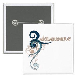 Blue Curly Swirl Delaware Button
