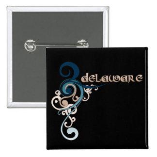 Blue Curly Swirl Delaware Button Dark