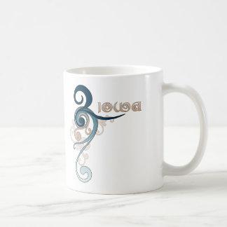 Blue Curly Swirl Iowa Mug