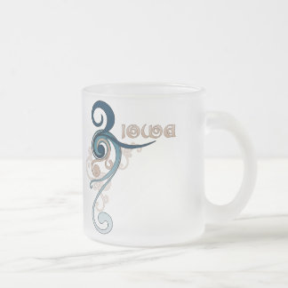 Blue Curly Swirl Iowa Mug Glass