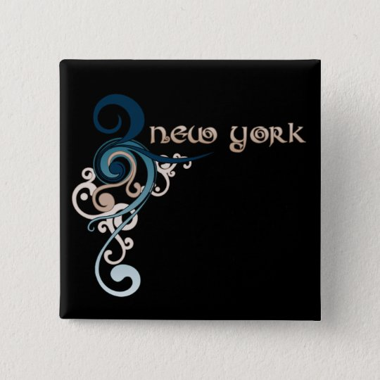 Blue Curly Swirl New York Button Dark