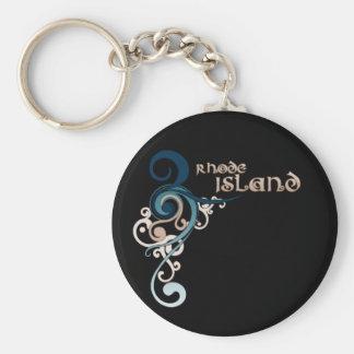 Blue Curly Swirl Rhode Island Keychain Dark