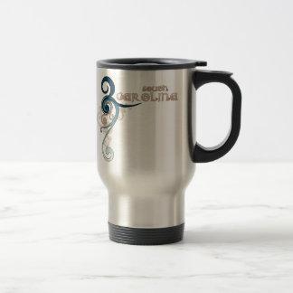 Blue Curly Swirl South Carolina Travel Mug