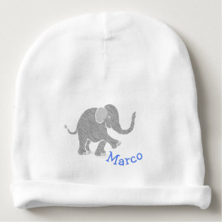 Blue Custom Baby Name with Cute Grey Baby Elephant Baby Beanie