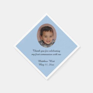 Blue Custom Personalized Communion Photo Napkins Paper Napkin