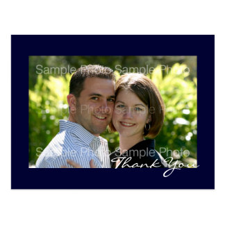 Blue Custom Photo Wedding Thank You PostCards