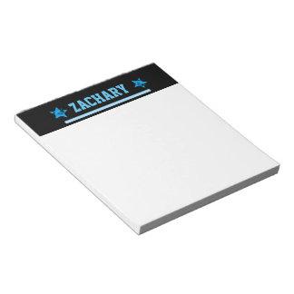 BLUE Custom Sports Name Stripe Grunge Stars A28 Notepads