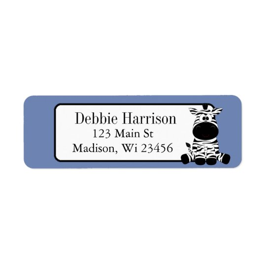 Blue Custom Zebra Stripes Return Address Labels