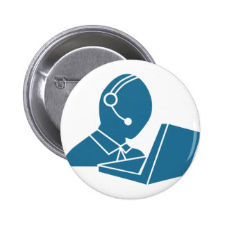 Blue Customer Service Sales Representative Icon 6 Cm Round Badge