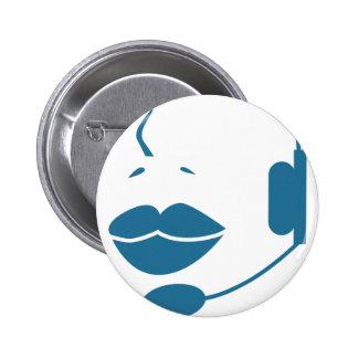 Blue Customer Service Sales Representative Icon 2 Inch Round Button