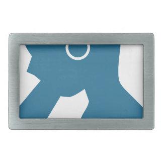 Blue Customer Service Sales Representative Icon Belt Buckle
