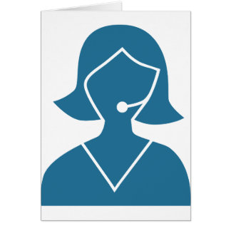 Blue Customer Service Sales Representative Icon Greeting Card