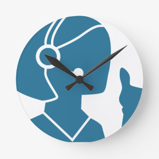 Blue Customer Service Sales Representative Icon Wall Clock