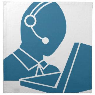 Blue Customer Service Sales Representative Icon Napkin