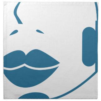 Blue Customer Service Sales Representative Icon Printed Napkin