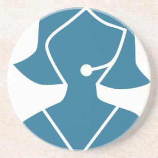 Blue Customer Service Sales Representative Icon Drink Coasters