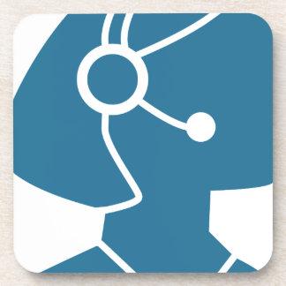 Blue Customer Service Sales Representative Icon Coaster