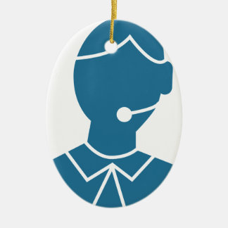 Blue Customer Service Sales Representative Icon Ceramic Oval Ornament