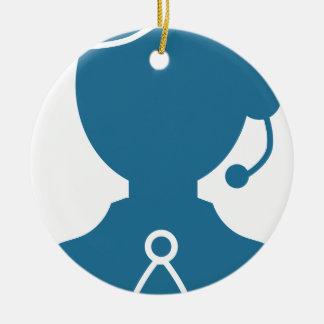 Blue Customer Service Sales Representative Icon Round Ceramic Ornament