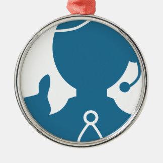 Blue Customer Service Sales Representative Icon Round Metal Christmas Ornament
