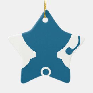 Blue Customer Service Sales Representative Icon Ceramic Star Ornament