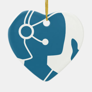 Blue Customer Service Sales Representative Icon Double-Sided Heart Ceramic Christmas Ornament