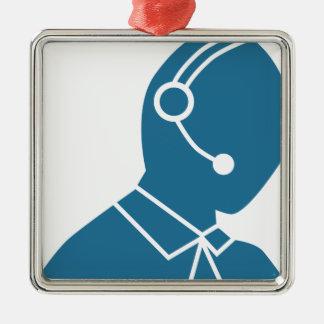 Blue Customer Service Sales Representative Icon Silver-Colored Square Ornament