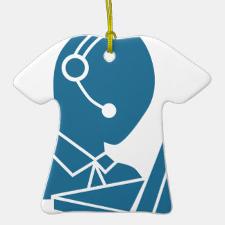 Blue Customer Service Sales Representative Icon Ceramic T-Shirt Decoration