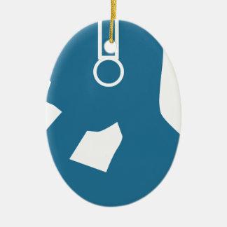 Blue Customer Service Sales Representative Icon Ceramic Oval Decoration
