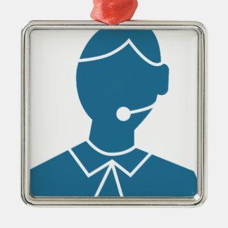 Blue Customer Service Sales Representative Icon Silver-Colored Square Decoration