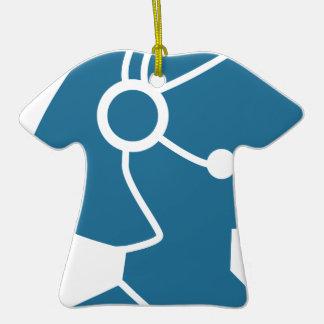 Blue Customer Service Sales Representative Icon Ceramic T-Shirt Ornament