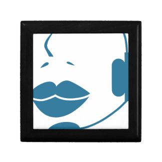 Blue Customer Service Sales Representative Icon Small Square Gift Box