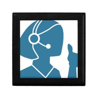 Blue Customer Service Sales Representative Icon Jewelry Box