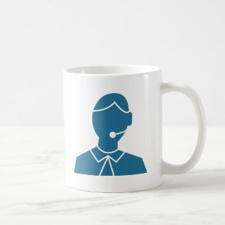Blue Customer Service Sales Representative Icon Basic White Mug