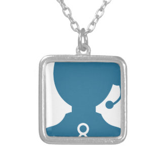 Blue Customer Service Sales Representative Icon Square Pendant Necklace