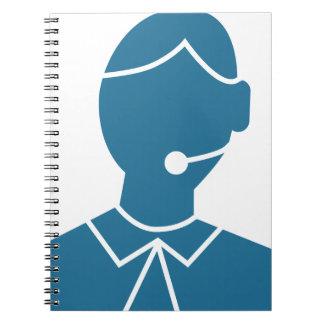 Blue Customer Service Sales Representative Icon Spiral Note Book