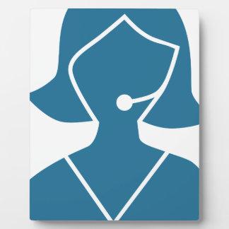 Blue Customer Service Sales Representative Icon Display Plaques