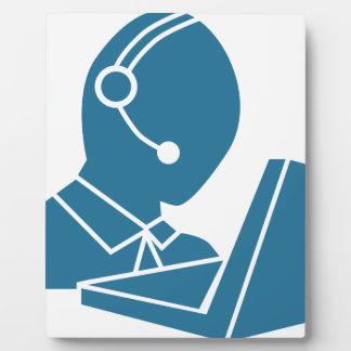 Blue Customer Service Sales Representative Icon Photo Plaques