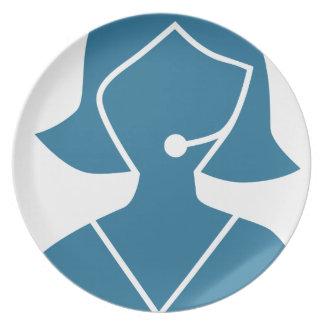 Blue Customer Service Sales Representative Icon Dinner Plates