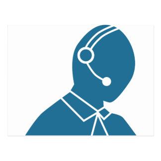 Blue Customer Service Sales Representative Icon Postcard
