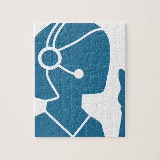 Blue Customer Service Sales Representative Icon Jigsaw Puzzle