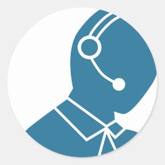 Blue Customer Service Sales Representative Icon Round Sticker