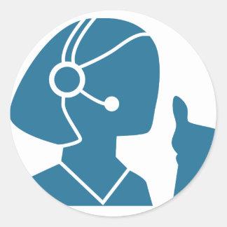 Blue Customer Service Sales Representative Icon Classic Round Sticker