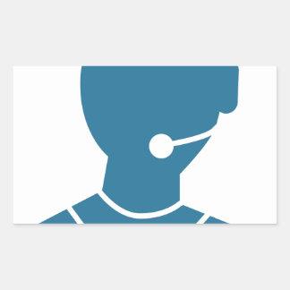 Blue Customer Service Sales Representative Icon Rectangular Sticker