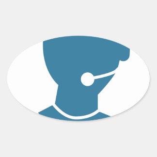 Blue Customer Service Sales Representative Icon Oval Sticker