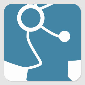 Blue Customer Service Sales Representative Icon Square Sticker
