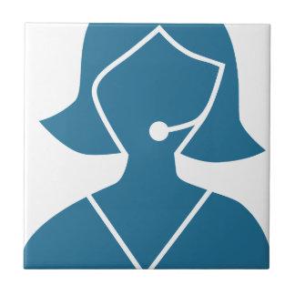 Blue Customer Service Sales Representative Icon Small Square Tile