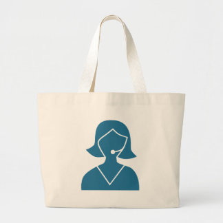 Blue Customer Service Sales Representative Icon Jumbo Tote Bag