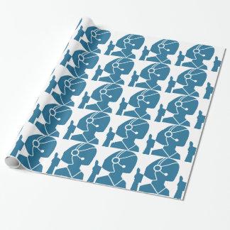 Blue Customer Service Sales Representative Icon Wrapping Paper