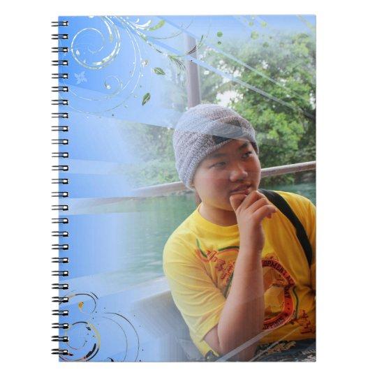 blue customised notebook